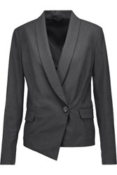 Brunello Cucinelli Asymmetric Wool Blend Blazer Charcoal