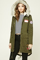 Forever 21 Patched Faux Fur Hooded Parka Olive