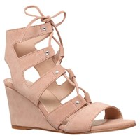 Carvela Khristie Lace Up Wedge Heeled Sandals Nude Suede