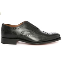 Grenson Angus Black Brogue Shoes With Floral Toe