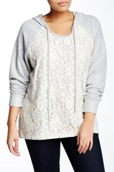 Eyeshadow Hooded Crew Lace Overlay Knit Pullover Plus Size Gray