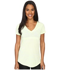 Alo Yoga Deep V Neck Shirt Glowstick Marble Women's Short Sleeve Pullover Yellow