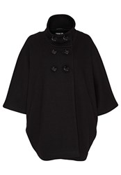 Hallhuber Wool Cape With Stand Collar Black