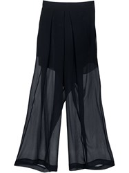 Isabel Benenato Sheer Cropped Trousers Black