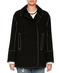 Stella Mccartney Topstitched Double Face Wool Peacoat Black