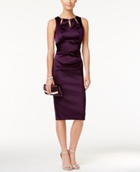 Betsy And Adam Cutout Satin Sheath Dress Plum
