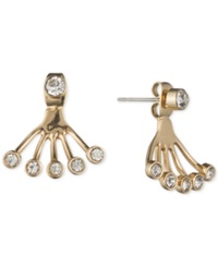 Lonna And Lilly Gold Tone Crystal Front Back Earring Jacket Earrings