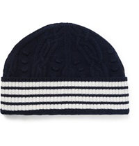 Thom Browne Cable Knit Cashmere Beanie Blue