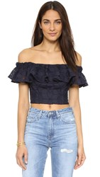 Rebecca Taylor Off Shoulder Dia Lace Blouse Navy