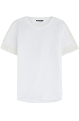 Vince Cotton T Shirt With Embroidered Inserts