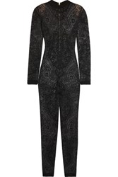 Balmain Stretch Lace Jumpsuit Black