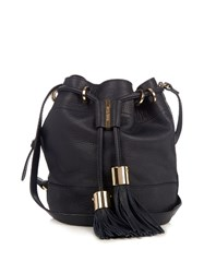 See By Chloe Vicki Medium Leather Cross Body Bucket Bag Navy