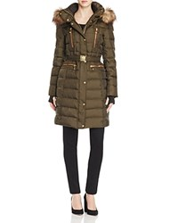 Vince Camuto Belted Faux Fur Hooded Puffer Coat Military Cognac