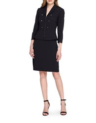 Tahari By Arthur S. Levine Peplum Jacket And Skirt Suit Black Grey