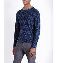 Ted Baker Malone Geometric Print Knitted Jumper Bright Blue