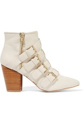Rebecca Minkoff Audrey Buckled Leather Boots White