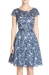 Eliza J Women's Belted Lace Cap Sleeve Fit And Flare Dress