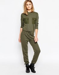 Daisy Street Relaxed Jumpsuit With Military Pocket Detail Khaki