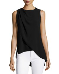 Halston Sleeveless Jewel Neck Top Black