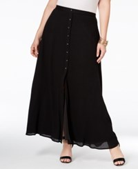 Stoosh Plus Size Button Front Maxi Skirt Black