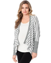 A Pea In The Pod Maternity Striped Open Front Cardigan Heather Grey White