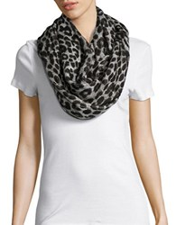 Michael Michael Kors Reversible Logo And Cheetah Print Infinity Scarf Grey Black