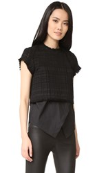 Derek Lam Short Sleeve 2 In 1 Top Black