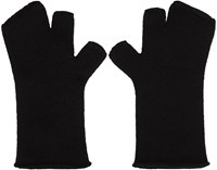 Attachment Black Wool Fingerless Gloves