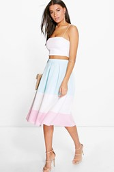 Boohoo Pastel Colour Block Full Midi Skirt Multi