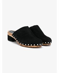 Proenza Schouler Suede And Wood Mules Black Silver Champagne