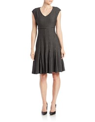 Taylor Printed Fit And Flare Dress Black Graphite