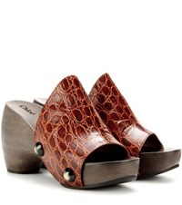 Chloe Embossed Leather Platform Clogs Brown