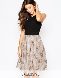 Little Mistress Pleated Chiffon Dress With Sequin Skirt Minkblack
