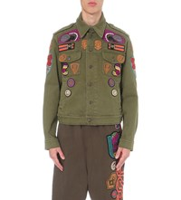 Dries Van Noten Venne Embellished Denim Jacket Khaki