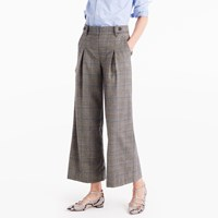 J.Crew Pleated Cropped Wide Leg Pant In Glen Plaid