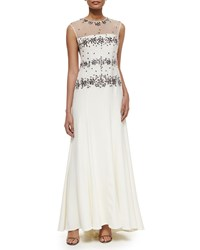 Sue Wong Illusion Beaded Bodice Gown Women's