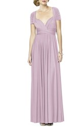 Dessy Collection Plus Size Women's Convertible Wrap Tie Surplice Jersey Gown Suede Rose