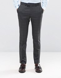 Ben Sherman Camden Super Skinny Suit Trousers In Charcoal Overcheck Grey