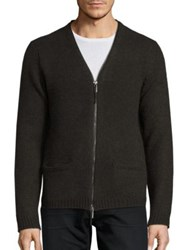 Blk Dnm Wool And Mohair Blend Cardigan Military Green