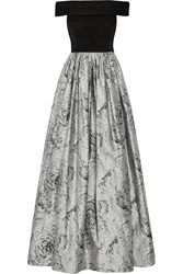 Alice Olivia Meredith Off The Shoulder Ruched Silk Chiffon And Jacquard Gown Gray