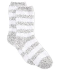 Charter Club Women's Marled Stripe Butter Socks Only At Macy's Medium Grey