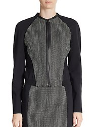 Elie Tahari Sandie Cotton Blend Jacket Black Grey