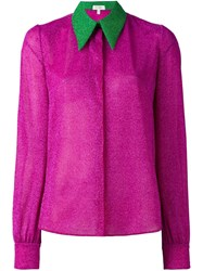Delpozo Contrast Collar Shirt Pink And Purple