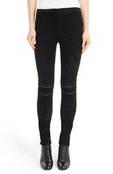 Saint Laurent Women's Lambskin Suede Moto Leggings