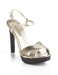 Lauren Ralph Lauren Firala Leather Platform Pumps Silver