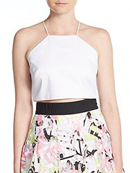 Milly Audrey Halter Cropped Top White