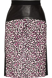 Dkny Leopard Print Calf Hair And Ponte Pencil Skirt Animal Print