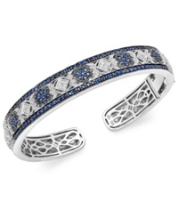 Macy's Sterling Silver Sapphire 2 3 4 Ct. T.W. And Diamond 1 10 Ct. T.W. Antique Bangle Bracelet Blue