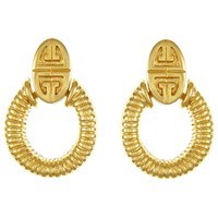Eclectica Vintage 1950S Givenchy Gold Plated Textured Drop Earrings Gold