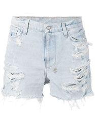 Ksubi Distressed Denim Shorts Blue